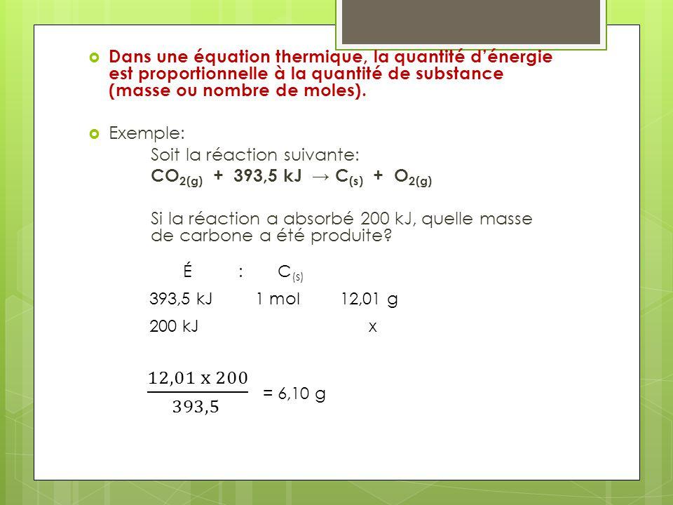 Dans une équation thermique, la quantité dénergie est proportionnelle à la quantité de substance (masse ou nombre de moles). Exemple: Soit la réaction