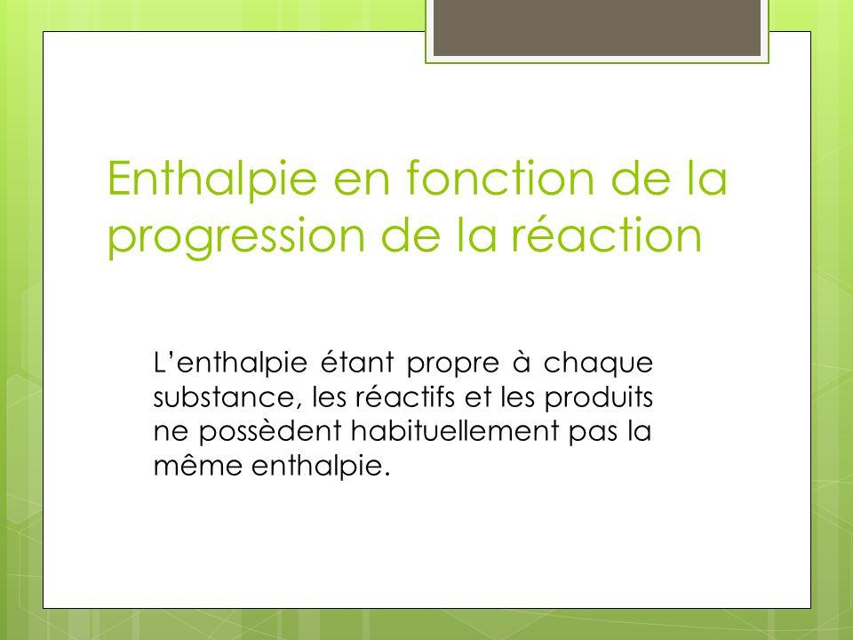 Enthalpie en fonction de la progression de la réaction Lenthalpie étant propre à chaque substance, les réactifs et les produits ne possèdent habituell
