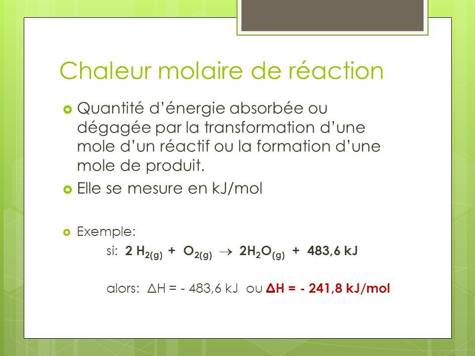 Chaleur molaire de réaction Quantité dénergie absorbée ou dégagée par la transformation dune mole dun réactif ou la formation dune mole de produit. El