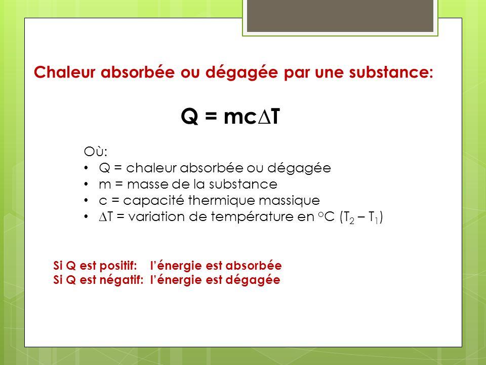 Chaleur absorbée ou dégagée par une substance: Q = mcT Où: Q = chaleur absorbée ou dégagée m = masse de la substance c = capacité thermique massique T