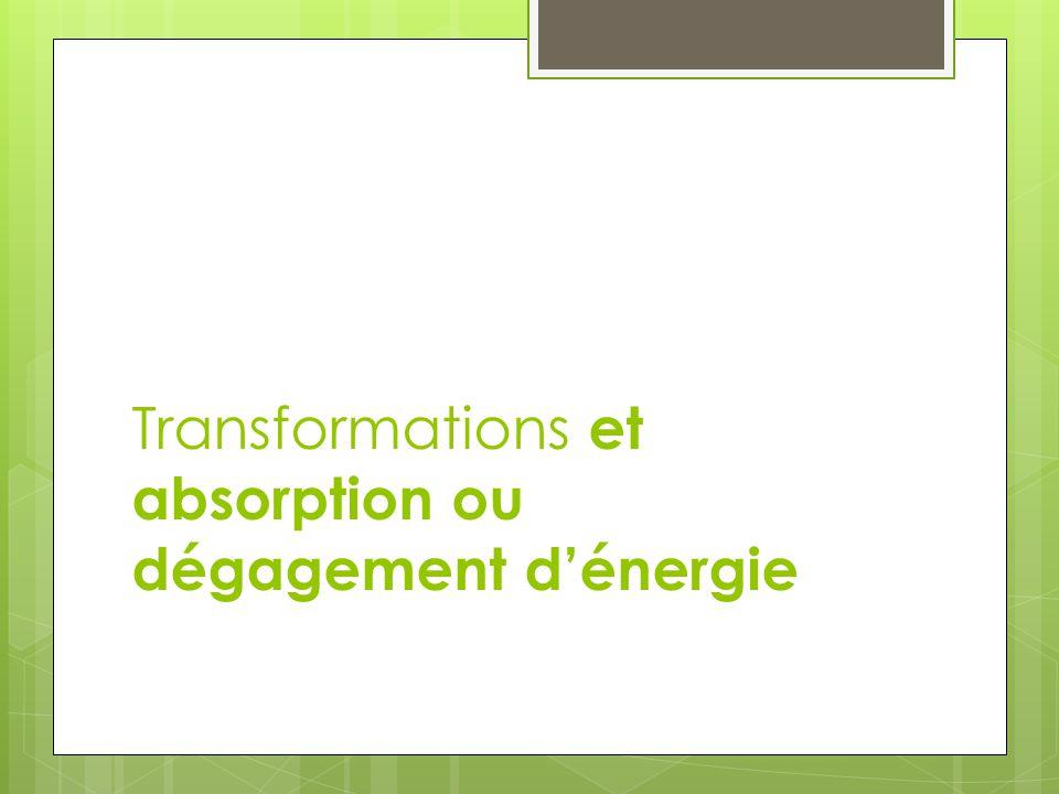 Réaction endothermique: Absorbe de lénergie Requiert un apport constant dénergie Réaction exothermique: Dégage de lénergie Peut nécessiter une amorce (énergie dactivation)