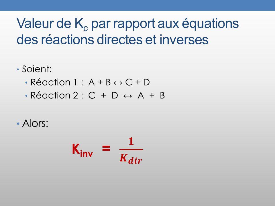 Valeur de K c par rapport aux équations des réactions directes et inverses