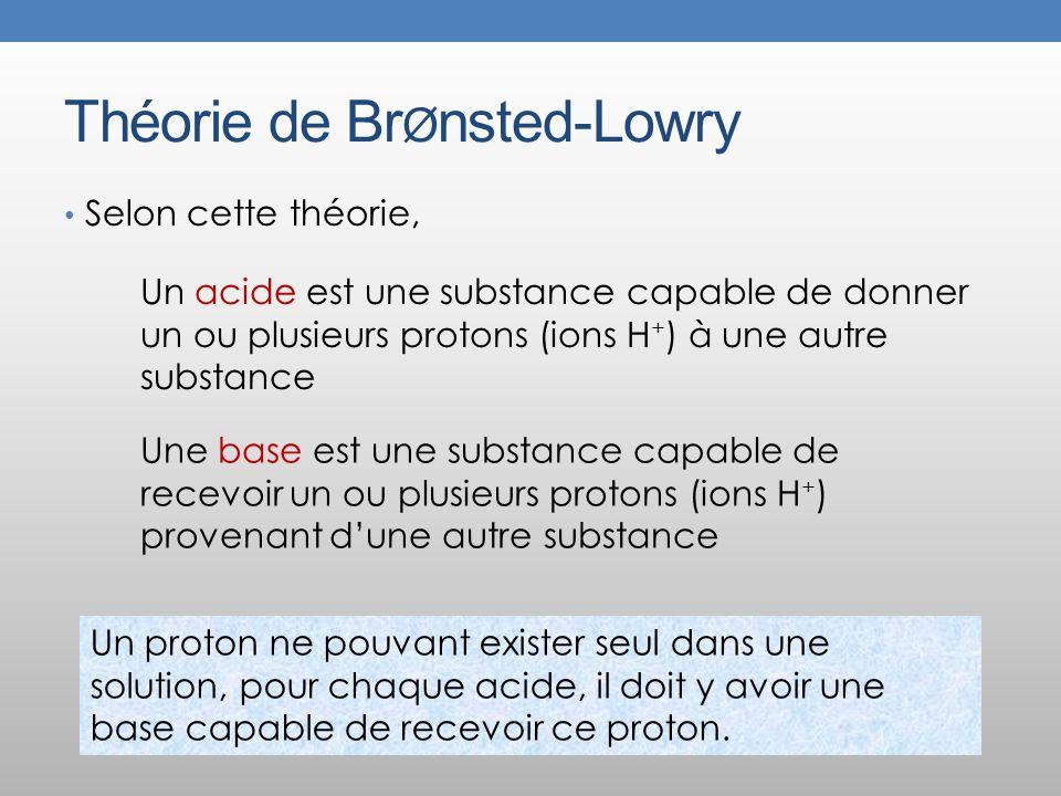 Théorie de Br Ø nsted-Lowry Selon cette théorie, Un acide est une substance capable de donner un ou plusieurs protons (ions H + ) à une autre substance Une base est une substance capable de recevoir un ou plusieurs protons (ions H + ) provenant dune autre substance Un proton ne pouvant exister seul dans une solution, pour chaque acide, il doit y avoir une base capable de recevoir ce proton.