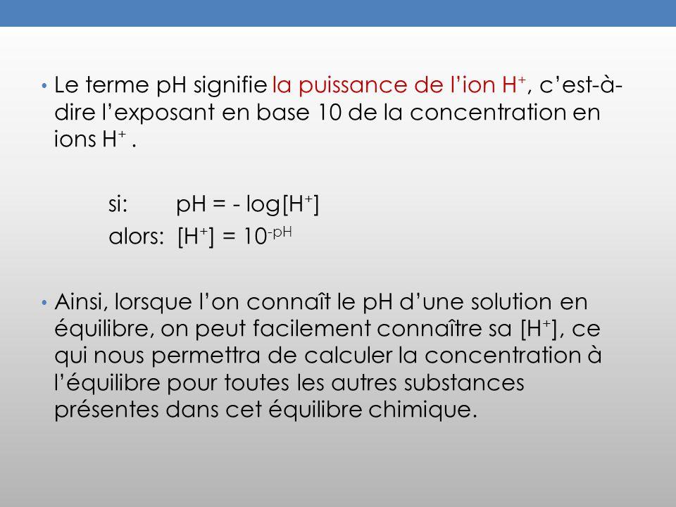 Le terme pH signifie la puissance de lion H +, cest-à- dire lexposant en base 10 de la concentration en ions H +.