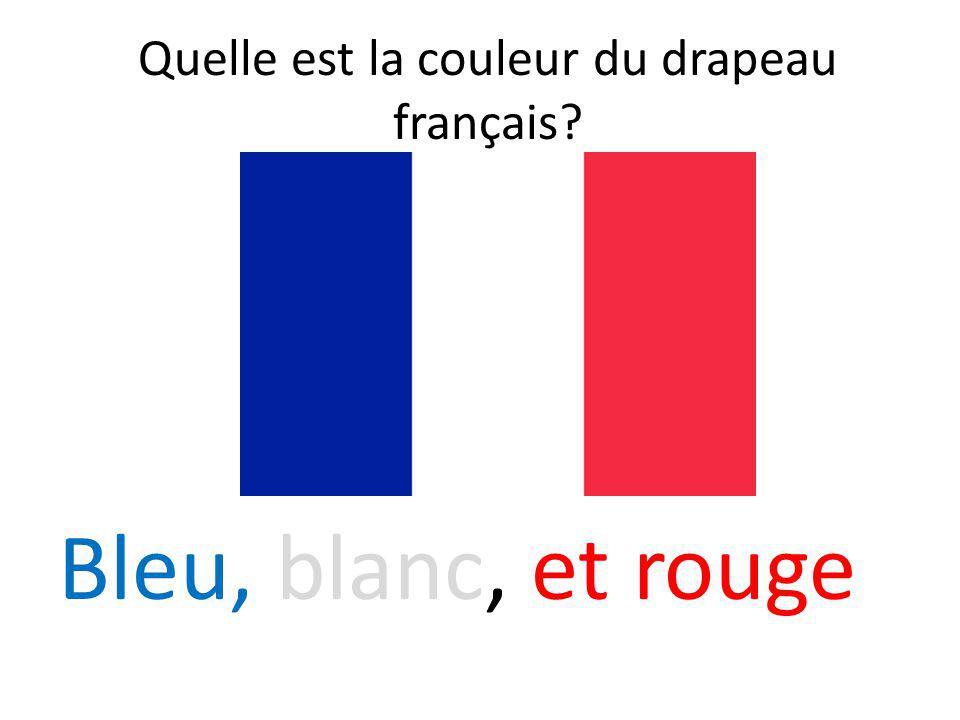 Quelle est la couleur du drapeau français? Bleu, blanc, et rouge