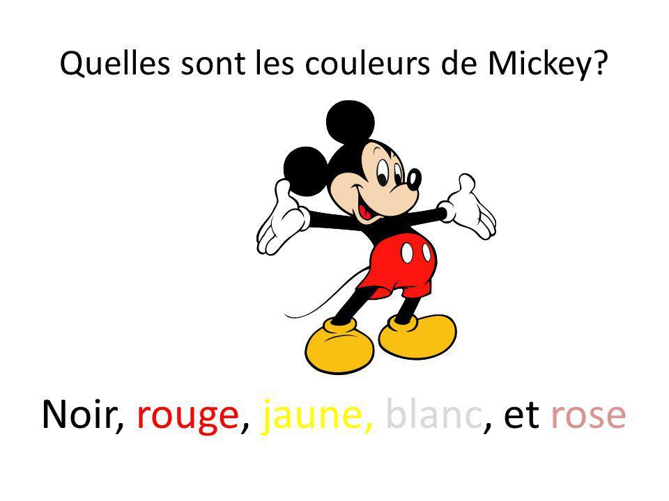 Quelles sont les couleurs de Mickey? Noir, rouge, jaune, blanc, et rose