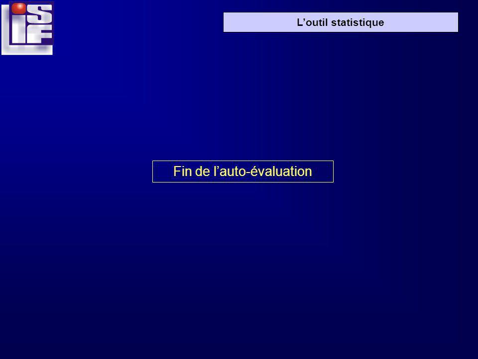 Loutil statistique Fin de lauto-évaluation