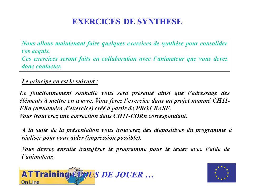 ROLE DES DIFFERENTS ELEMENTS EXERCICES DE SYNTHESE Nous allons maintenant faire quelques exercices de synthèse pour consolider vos acquis.