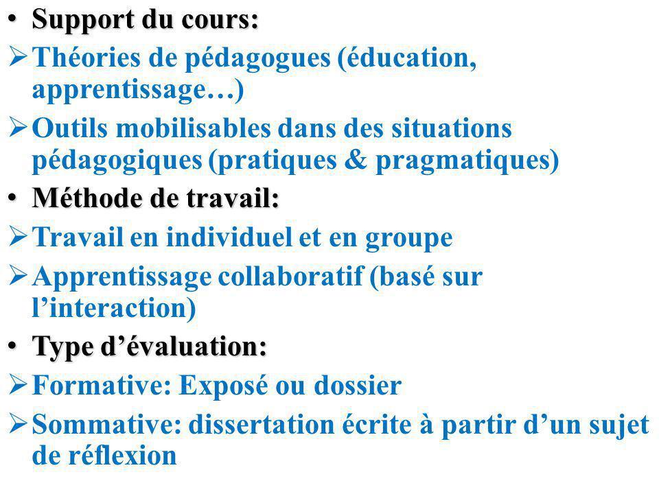 Support du cours: Support du cours: Théories de pédagogues (éducation, apprentissage…) Outils mobilisables dans des situations pédagogiques (pratiques
