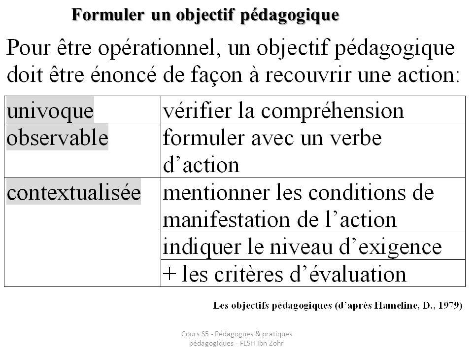 Formuler un objectif pédagogique Cours S5 - Pédagogues & pratiques pédagogiques - FLSH Ibn Zohr