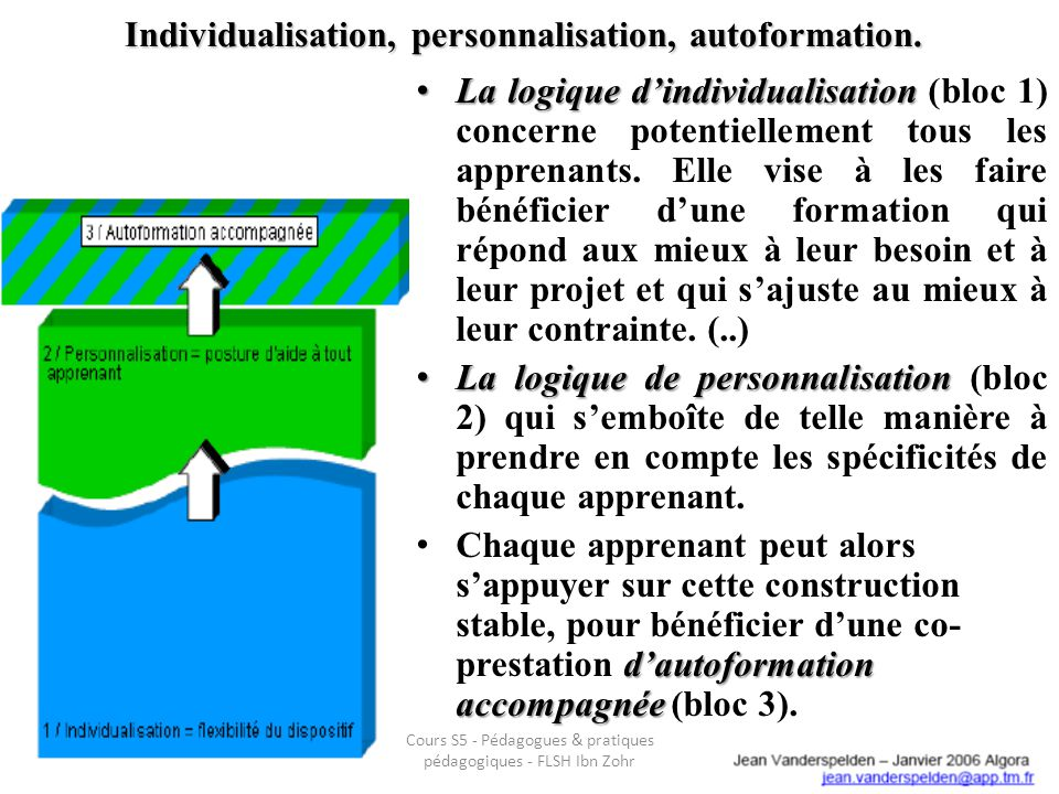 Individualisation, personnalisation, autoformation. La logique dindividualisation La logique dindividualisation (bloc 1) concerne potentiellement tous