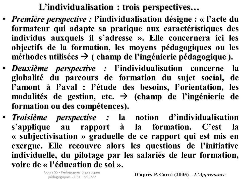 Lindividualisation : trois perspectives… Première perspective : ( champ de lingénierie pédagogique ).