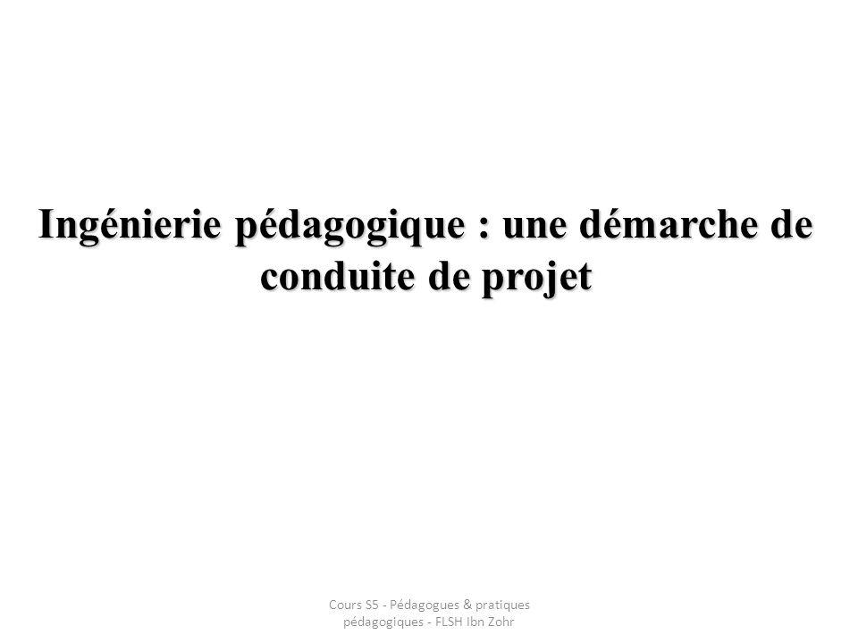Ingénierie pédagogique : une démarche de conduite de projet Cours S5 - Pédagogues & pratiques pédagogiques - FLSH Ibn Zohr