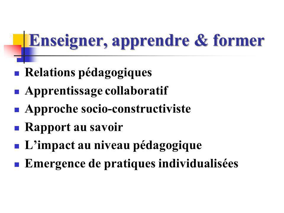 Relations pédagogiques Processus enseigner Savoir Apprenant Enseignant Processus former Processusapprendre « Triangle pédagogique »: J.