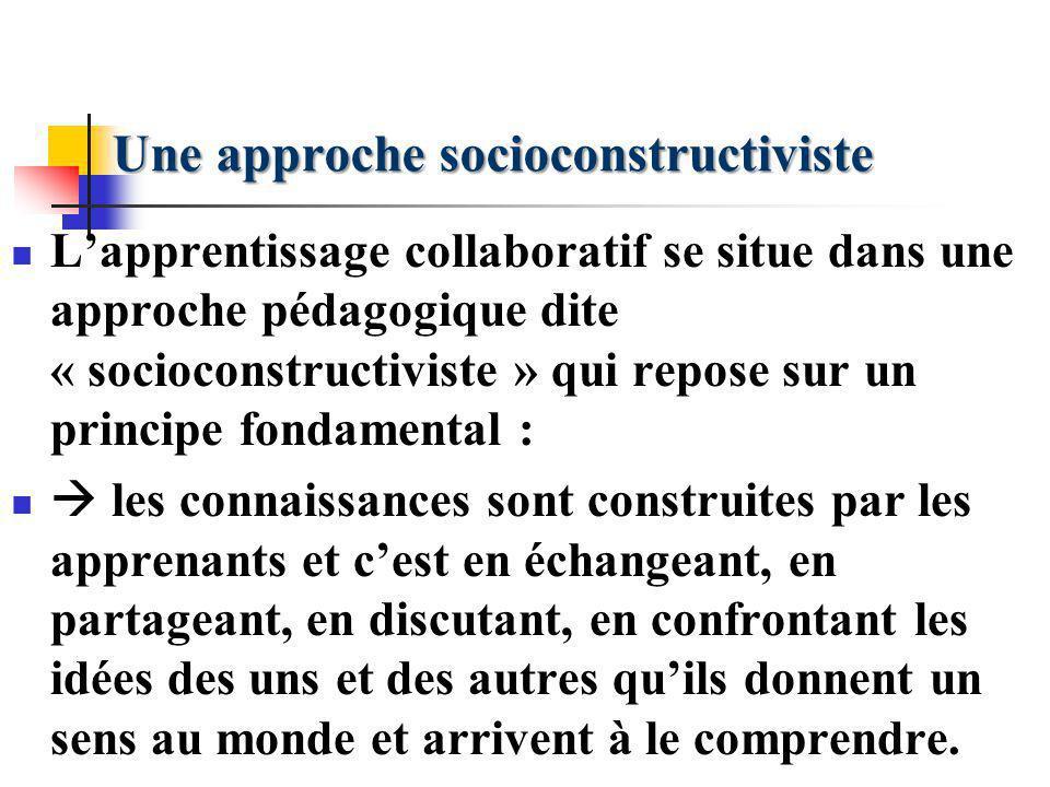 Une approche socioconstructiviste Lapprentissage collaboratif se situe dans une approche pédagogique dite « socioconstructiviste » qui repose sur un p