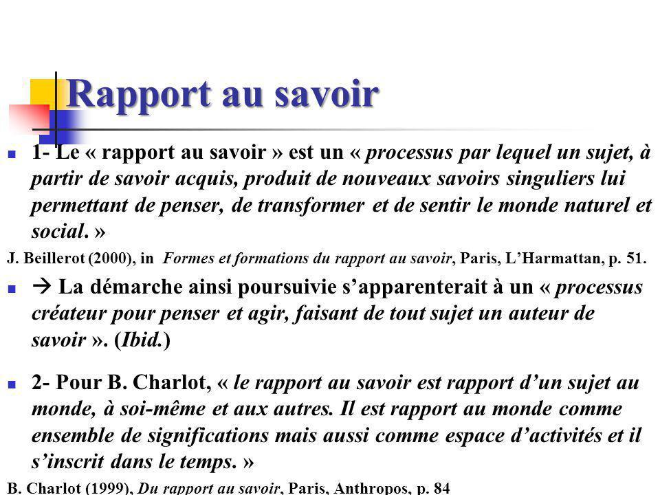 Rapport au savoir 1- Le « rapport au savoir » est un « processus par lequel un sujet, à partir de savoir acquis, produit de nouveaux savoirs singulier