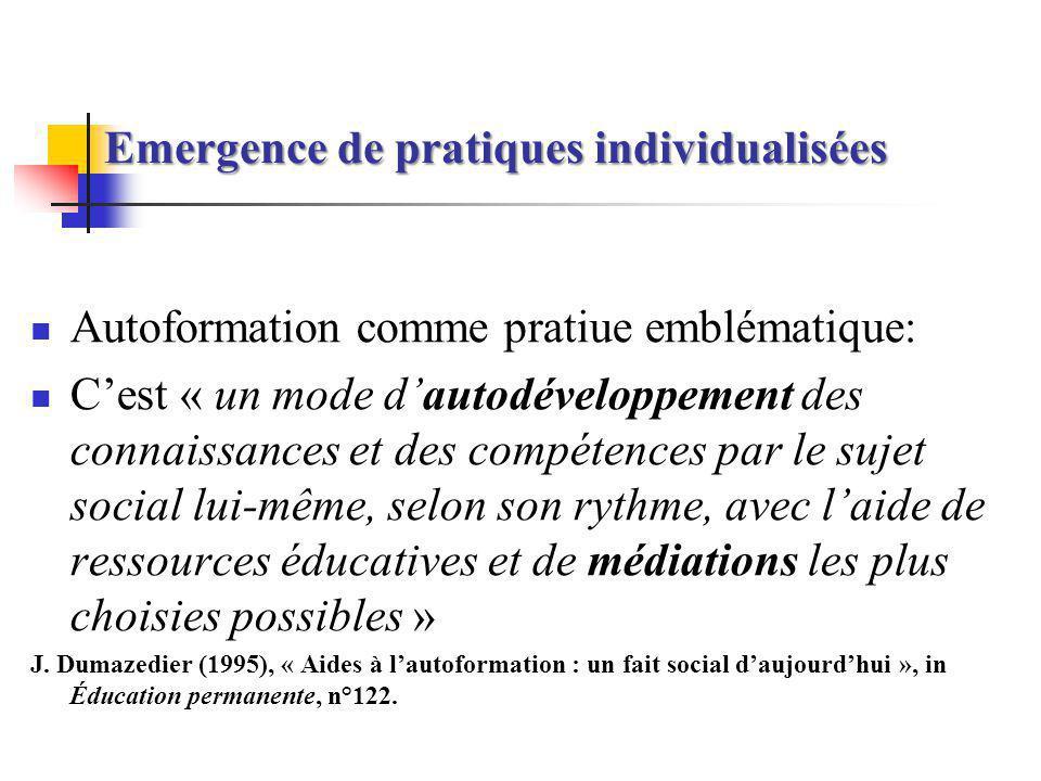 Emergence de pratiques individualisées Autoformation comme pratiue emblématique: Cest « un mode dautodéveloppement des connaissances et des compétence