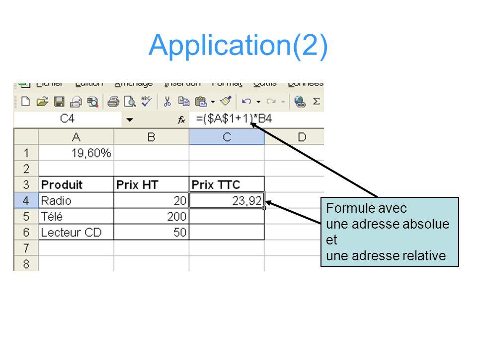 Application (3) Une autre façon de procéder (meilleure) serait –de « nommer » la case qui contient le taux de TVA –Utiliser ce nom dans la formule pour calculer les TTC