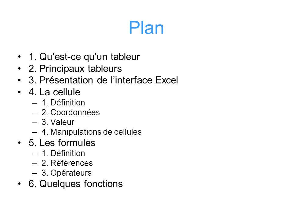 Plan 1. Quest-ce quun tableur 2. Principaux tableurs 3. Présentation de linterface Excel 4. La cellule –1. Définition –2. Coordonnées –3. Valeur –4. M