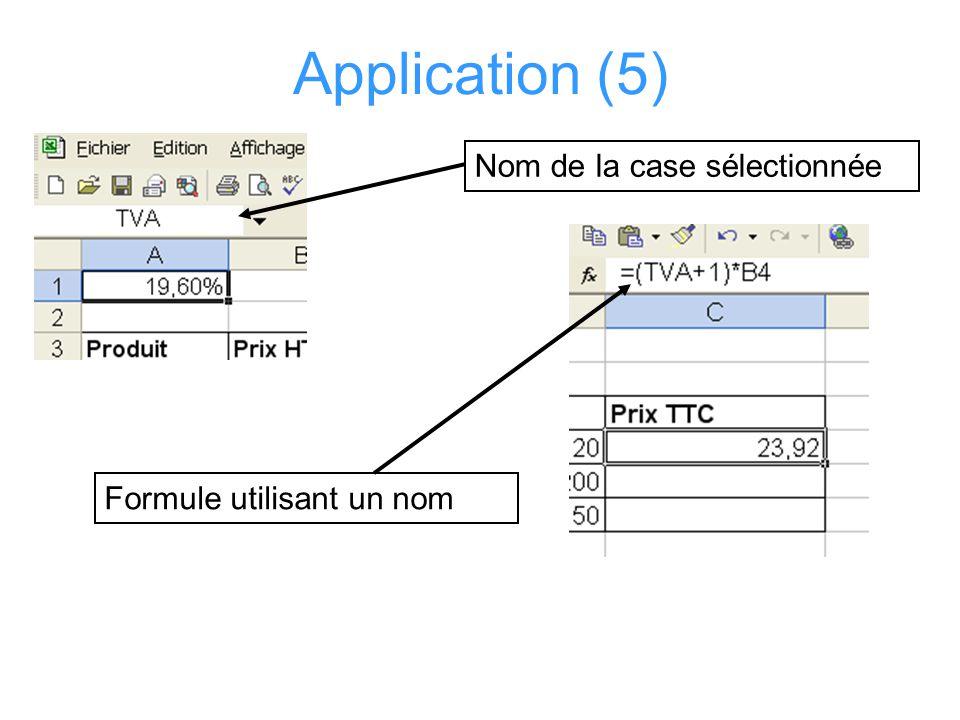 Application (5) Nom de la case sélectionnée Formule utilisant un nom