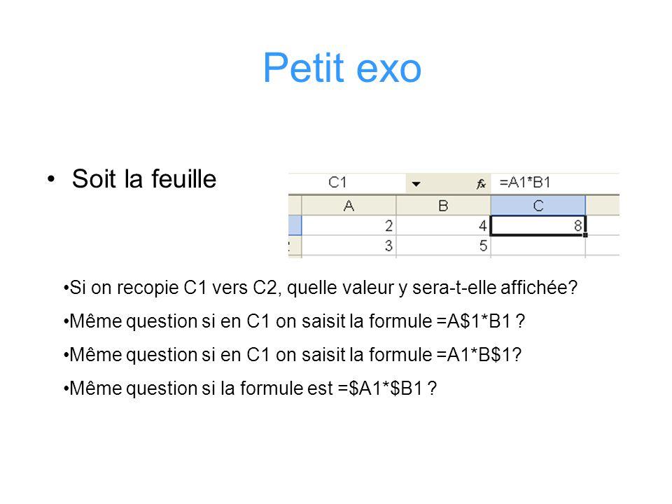 Petit exo Soit la feuille Si on recopie C1 vers C2, quelle valeur y sera-t-elle affichée? Même question si en C1 on saisit la formule =A$1*B1 ? Même q