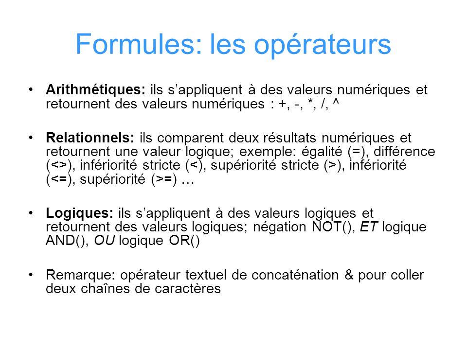 Formules: les opérateurs Arithmétiques: ils sappliquent à des valeurs numériques et retournent des valeurs numériques : +, -, *, /, ^ Relationnels: il