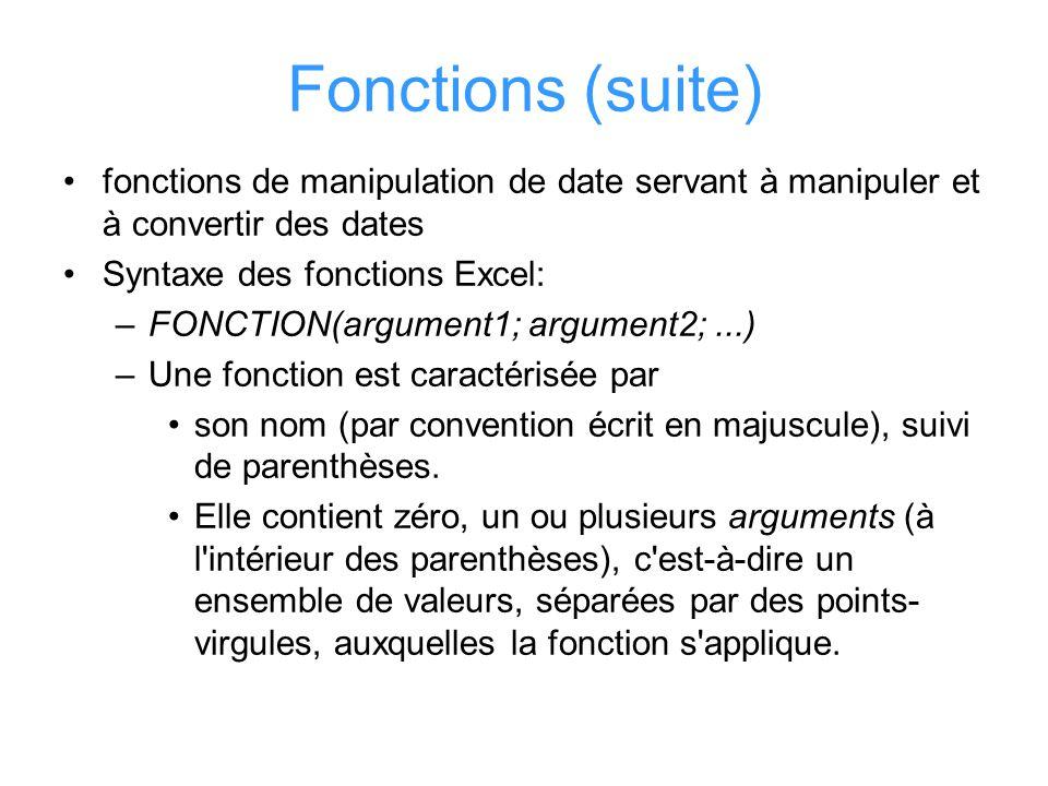 Fonctions (suite) fonctions de manipulation de date servant à manipuler et à convertir des dates Syntaxe des fonctions Excel: –FONCTION(argument1; arg