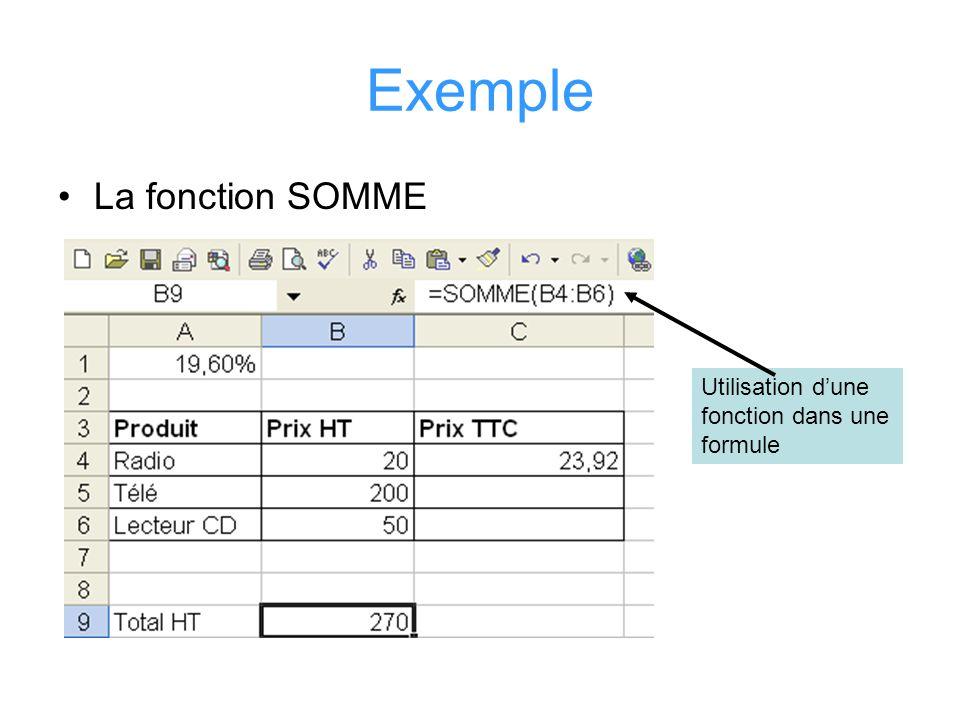 Exemple La fonction SOMME Utilisation dune fonction dans une formule