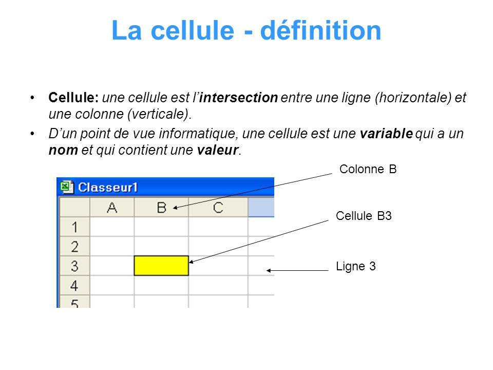 Cellule: Valeur Une cellule peut contenir une valeur ou bien être vide La valeur a deux caractéristiques: 1.Type: Numérique: nombres, symbole de devise, … Alphanumérique: chaîne de caractère qui forment des mots Formules: expressions mathématiques qui commencent par = Les types sont déterminés automatiquement par Excel au moment de la saisie.