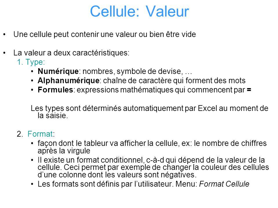 Cellule: Valeur Une cellule peut contenir une valeur ou bien être vide La valeur a deux caractéristiques: 1.Type: Numérique: nombres, symbole de devis