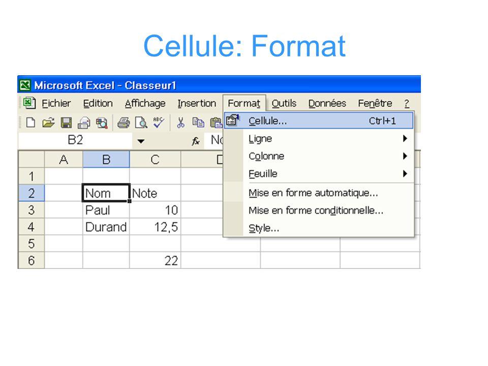 Cellule: Format alphanumérique