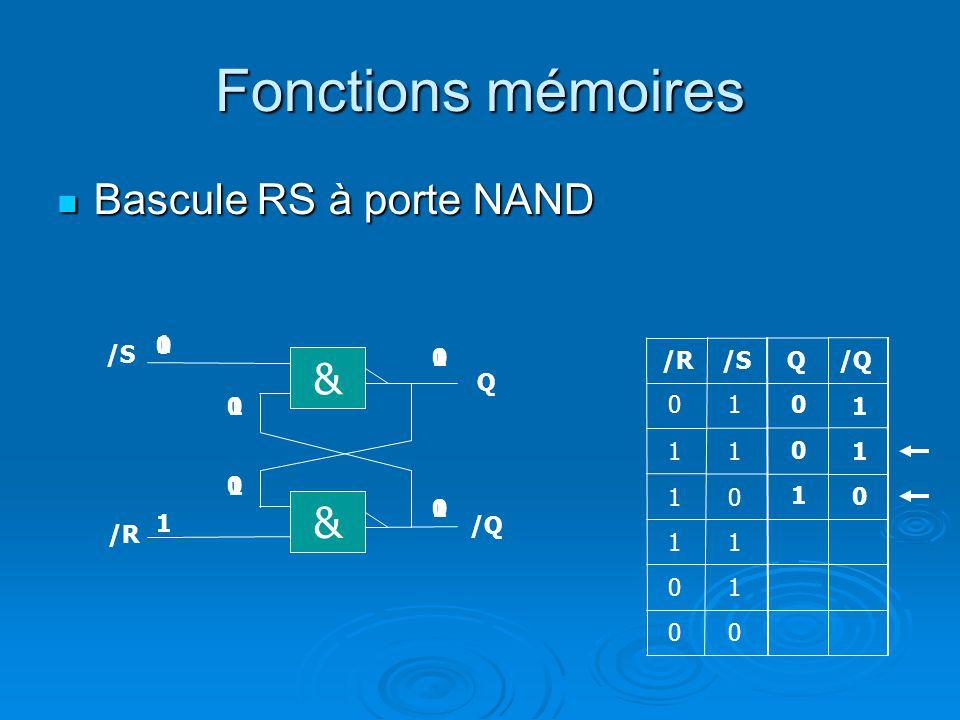 Fonctions mémoires Bascule RS à porte NAND Bascule RS à porte NAND Q/R/S 1 1 0 0 1 11 1 0 1 1 & Q & /R /Q 0 0 1 1 1 0 1 0 0 1 0 1 1 0 0 0 0 1