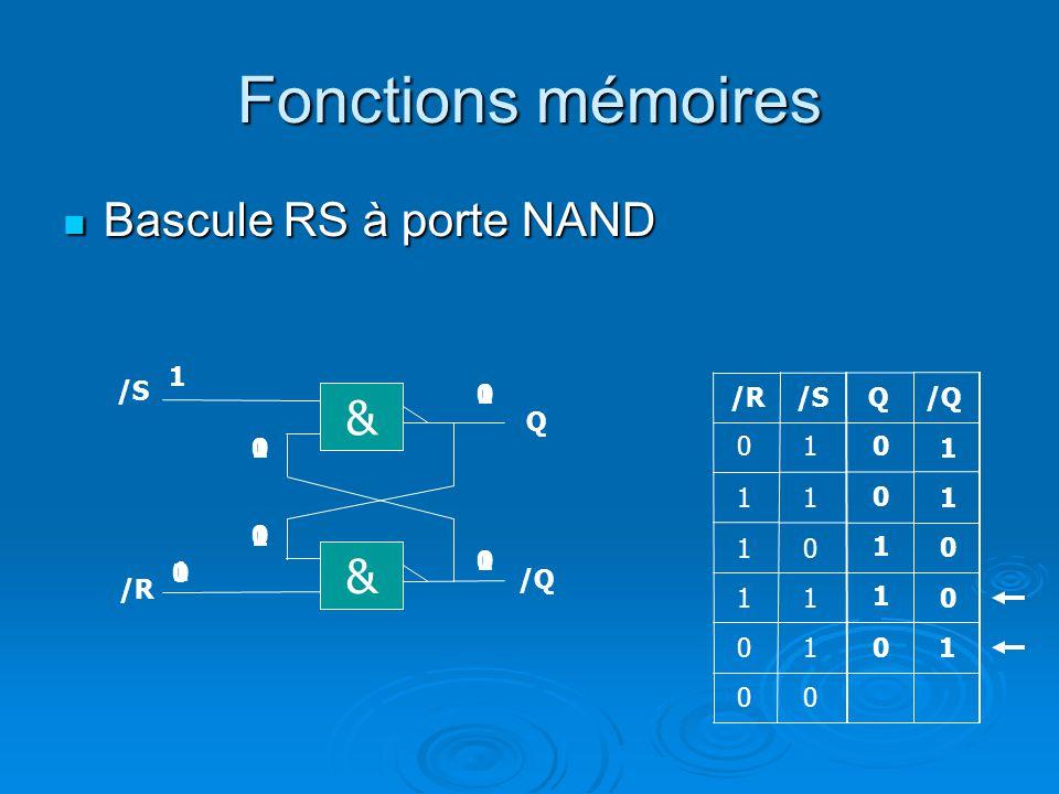 Fonctions mémoires Bascule RS à porte NAND Bascule RS à porte NAND Q/R/S 1 1 0 0 1 11 1 0 1 1 & Q & /R /Q 0 0 1 0 0 1 1 0 0 1 0 1 0 1 01 1 1 0 1 0 0