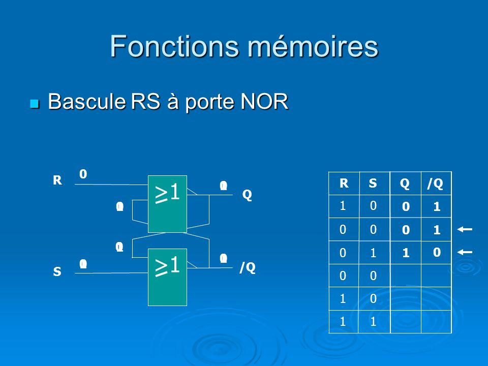 Fonctions mémoires Bascule RS à porte NOR Bascule RS à porte NOR QRS 0 0 1 1 0 00 0 1 0 R Q S /Q 1 1 1 0 10 1 1 0 0 >1 0 10 0 0 0 1 1 1