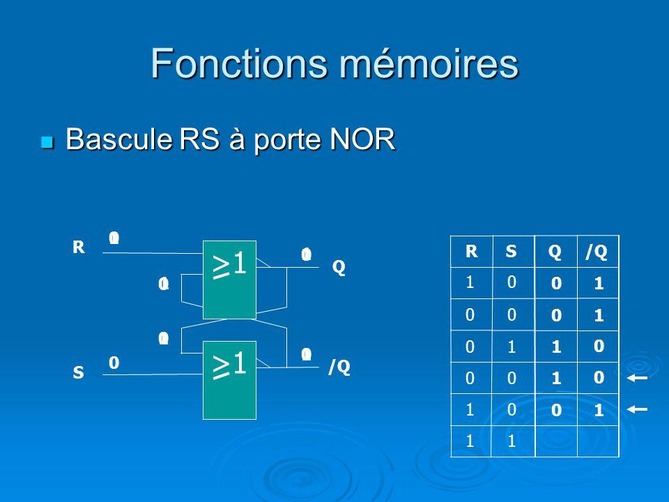 Fonctions mémoires Bascule RS à porte NOR Bascule RS à porte NOR QRS 0 0 1 1 0 00 0 1 0 R Q S /Q 1 1 0 0 10 0 1 0 0 >1 10 10 0 1 0 1 1 0 1 1 1