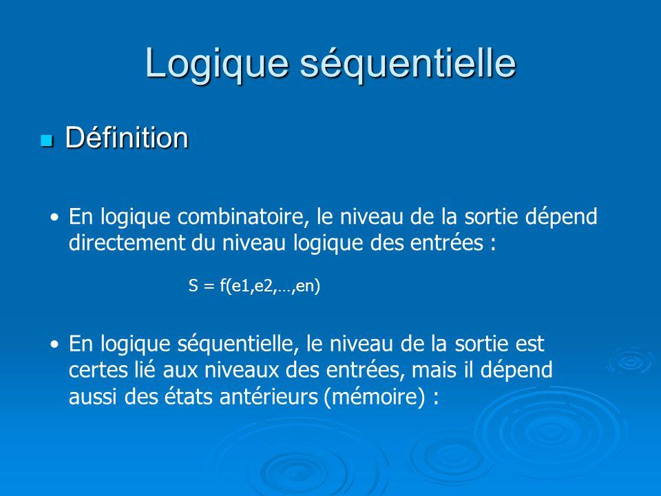 Définition Définition En logique combinatoire, le niveau de la sortie dépend directement du niveau logique des entrées : En logique séquentielle, le n