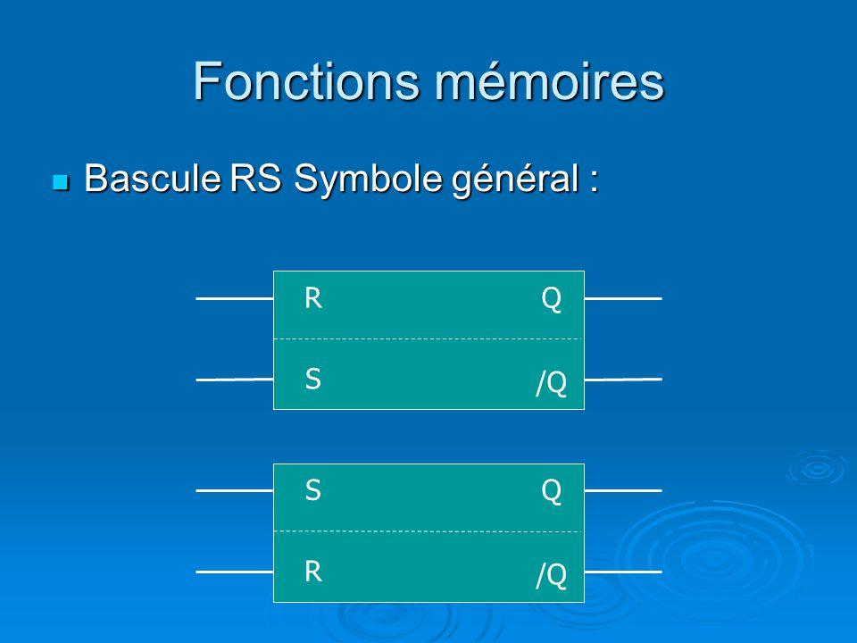 Fonctions mémoires Bascule RS Symbole général : Bascule RS Symbole général : S Q /Q R R Q S