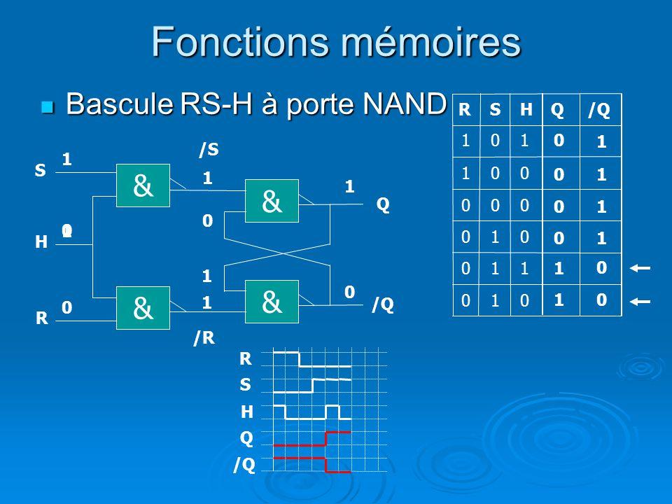 Fonctions mémoires Bascule RS-H à porte NAND Bascule RS-H à porte NAND Q R Q 1 1 0 1 0 00 0 0 1 1 & /S Q & /R /Q 0 0 1 0 0 1 1 10 & & H R S S 0 0 1 0