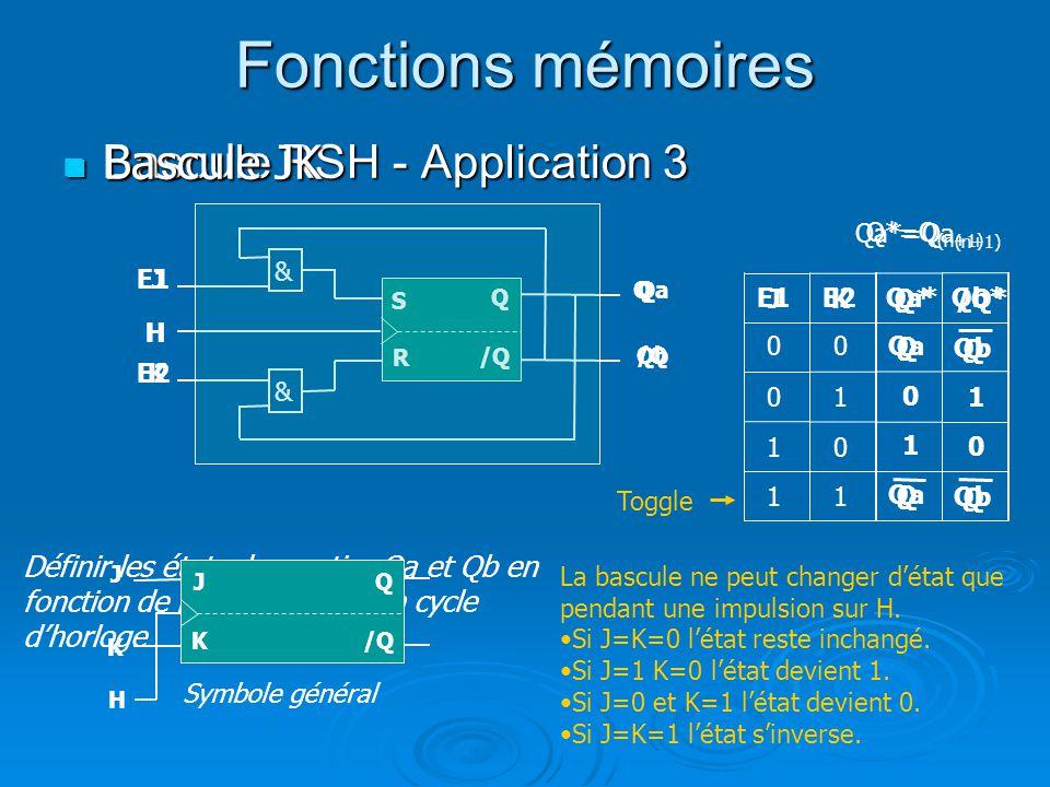 Fonctions mémoires Bascule RSH - Application 3 Bascule RSH - Application 3 H /Q Q S Définir les états des sorties Qa et Qb en fonction de E1 et E2 apr
