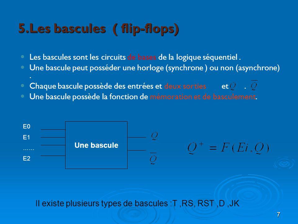 7 5.Les bascules ( flip-flops) Les bascules sont les circuits de bases de la logique séquentiel. Une bascule peut posséder une horloge (synchrone ) ou