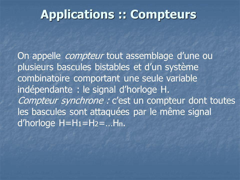 Applications :: Compteurs On appelle compteur tout assemblage dune ou plusieurs bascules bistables et dun système combinatoire comportant une seule va