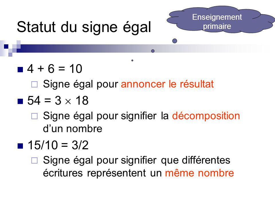 Statut du signe égal 4 + 6 = 10 Signe égal pour annoncer le résultat 54 = 3 18 Signe égal pour signifier la décomposition dun nombre 15/10 = 3/2 Signe