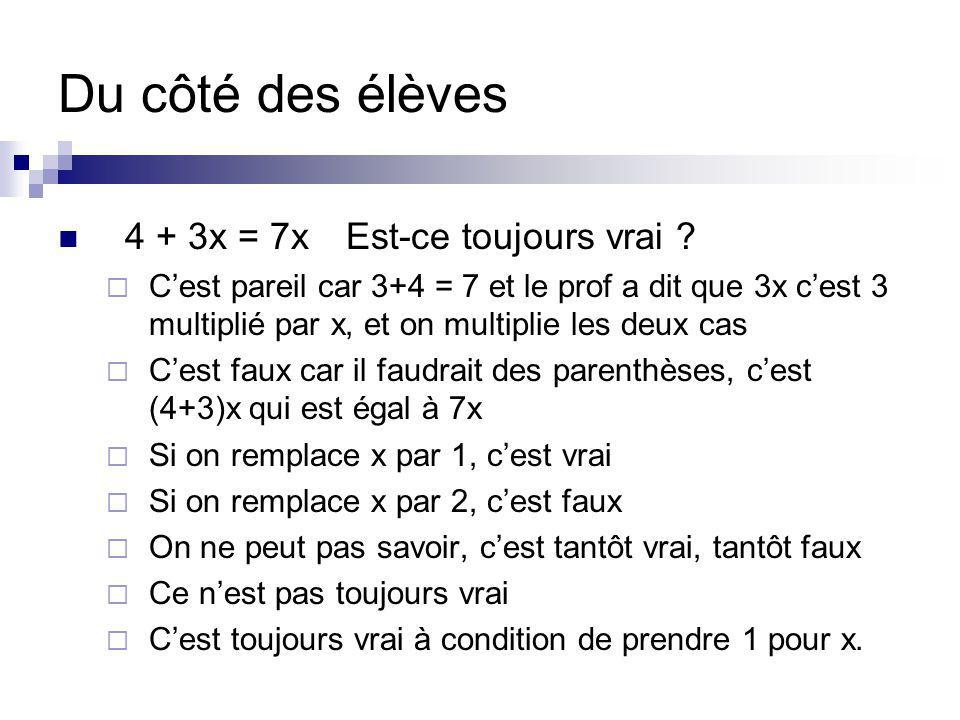 Du côté des élèves 4 + 3x = 7xEst-ce toujours vrai ? Cest pareil car 3+4 = 7 et le prof a dit que 3x cest 3 multiplié par x, et on multiplie les deux