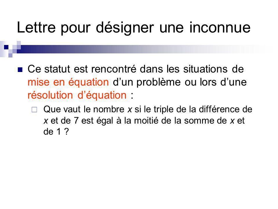 Lettre pour désigner une inconnue Ce statut est rencontré dans les situations de mise en équation dun problème ou lors dune résolution déquation : Que