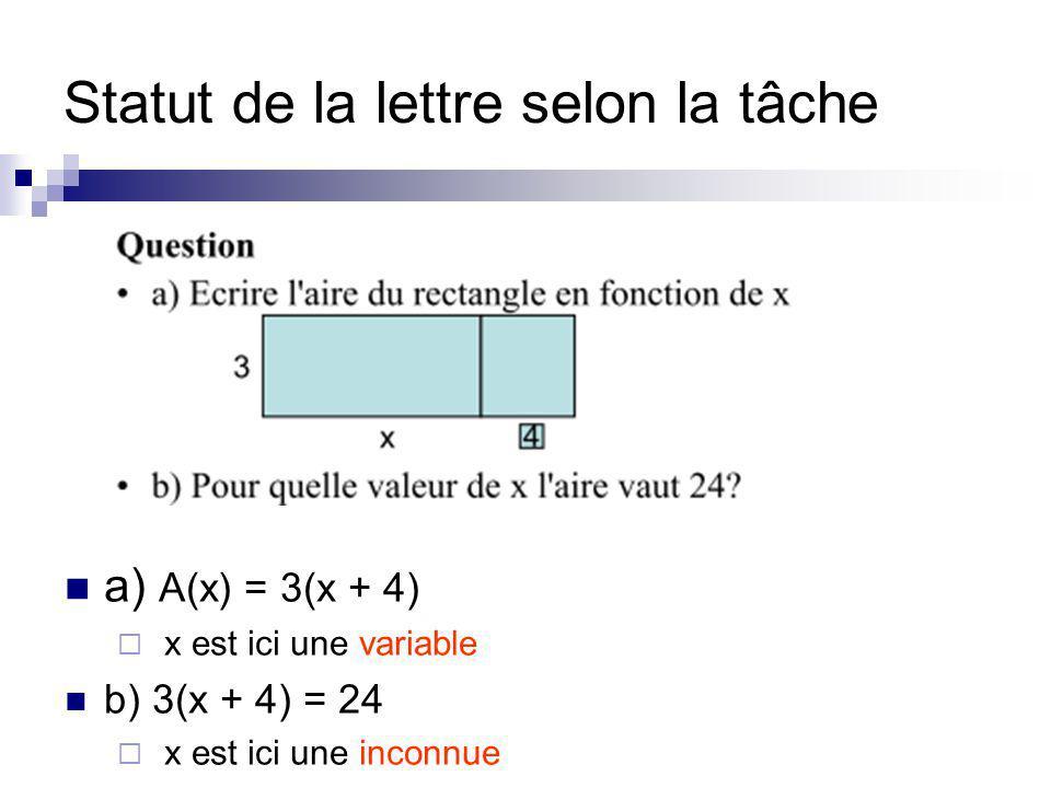 Statut de la lettre selon la tâche a) A(x) = 3(x + 4) x est ici une variable b) 3(x + 4) = 24 x est ici une inconnue