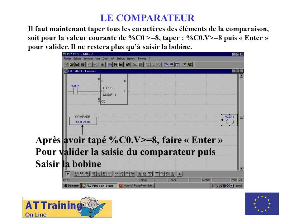 ROLE DES DIFFERENTS ELEMENTS LE COMPARATEUR Il faut maintenant taper tous les caractères des éléments de la comparaison, soit pour la valeur courante de %C0 >=8, taper : %C0.V>=8 puis « Enter » pour valider.