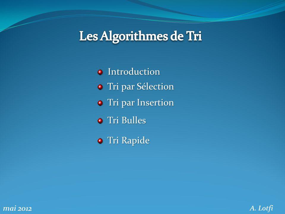 Introduction 0.1 Définition « trier » signifie « répartir en plusieurs classes selon certains critères ».
