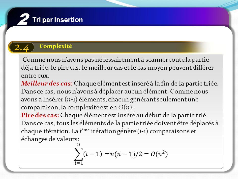 Tri par Insertion 2 2.4 Complexité