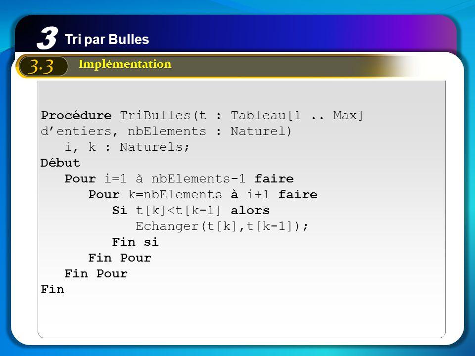 Tri par Bulles 3 3.3 Implémentation Procédure TriBulles(t : Tableau[1.. Max] dentiers, nbElements : Naturel) i, k : Naturels; Début Pour i=1 à nbEleme