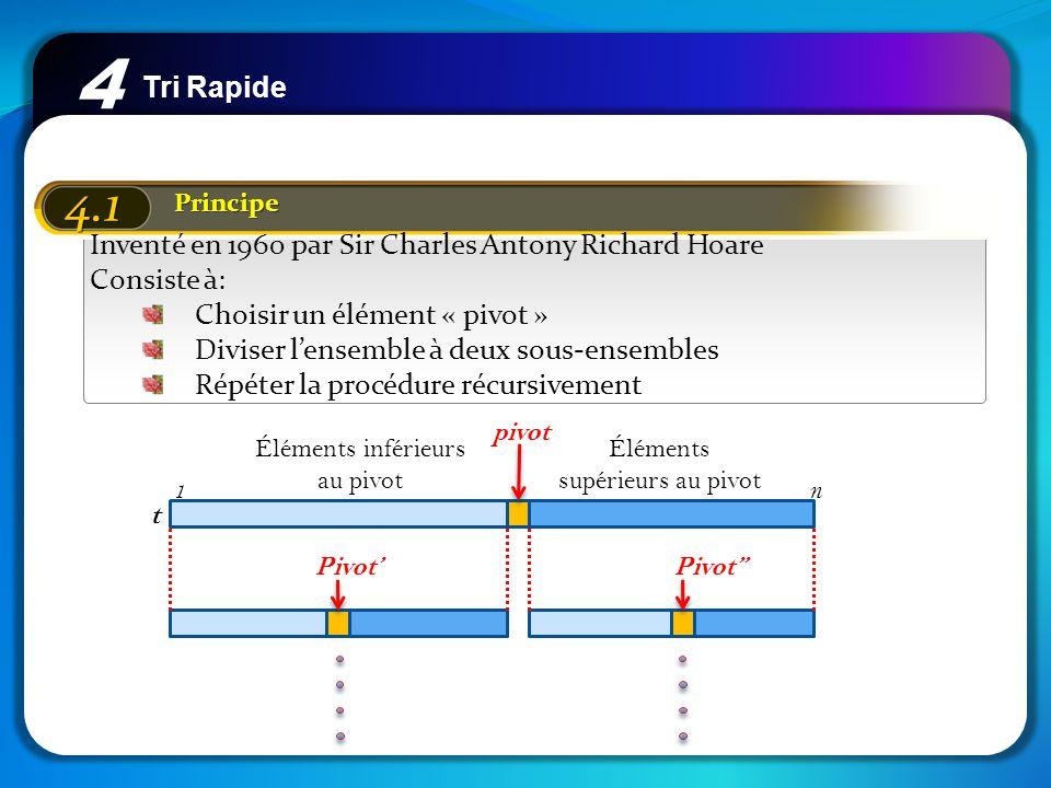 Tri Rapide 4 4.1 Principe Inventé en 1960 par Sir Charles Antony Richard Hoare Consiste à: Choisir un élément « pivot » Diviser lensemble à deux sous-